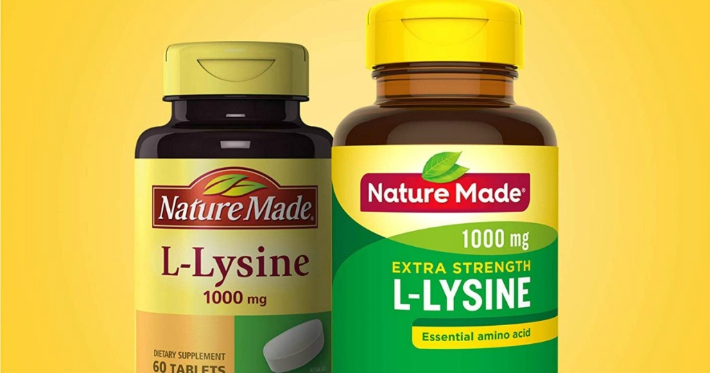 Nature Made L-Lysine bottles with yellow background behind
