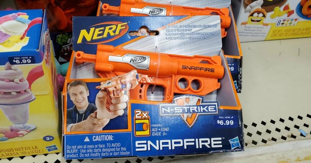 Nerf Snapfire on Walgreens shelf