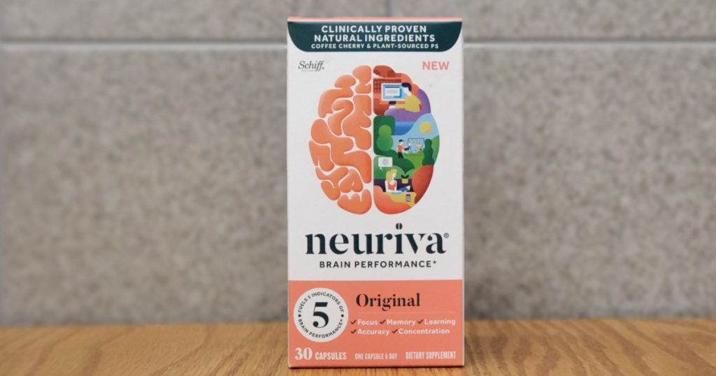 neuriva brain performance capsules on wooden table