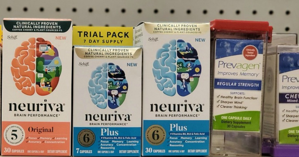 various bottle on Neuriva supplement on a store shelf