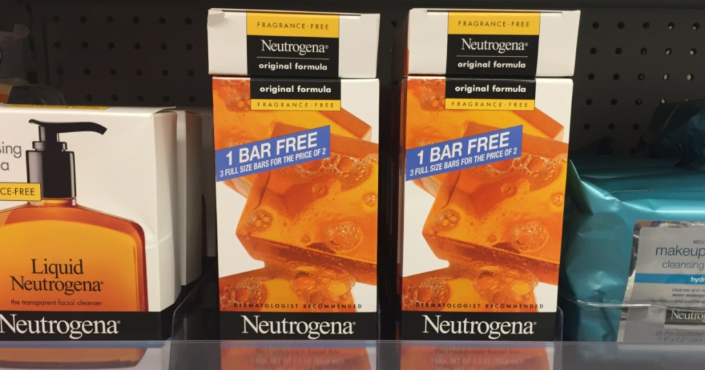 two Neutrogena Facial Cleansing Bar Fragrance Free packs on shelf in store