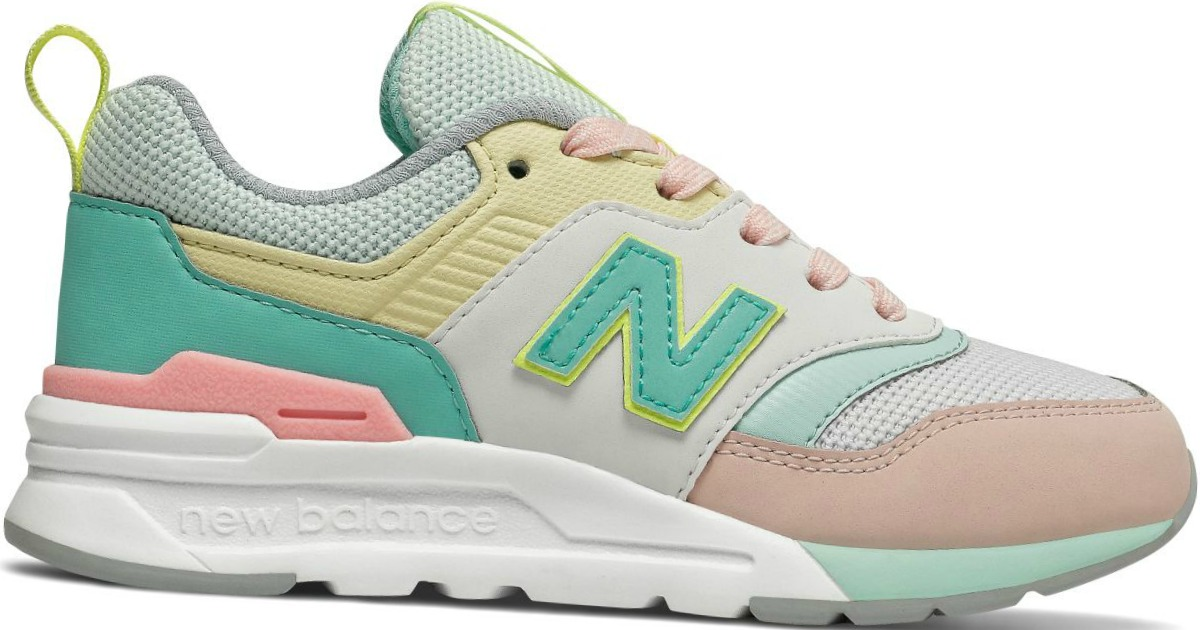 New Balance pink, yellow, white and mint-colored Kids Shoes