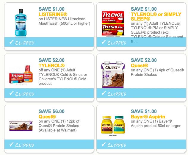 screenshot of new coupons