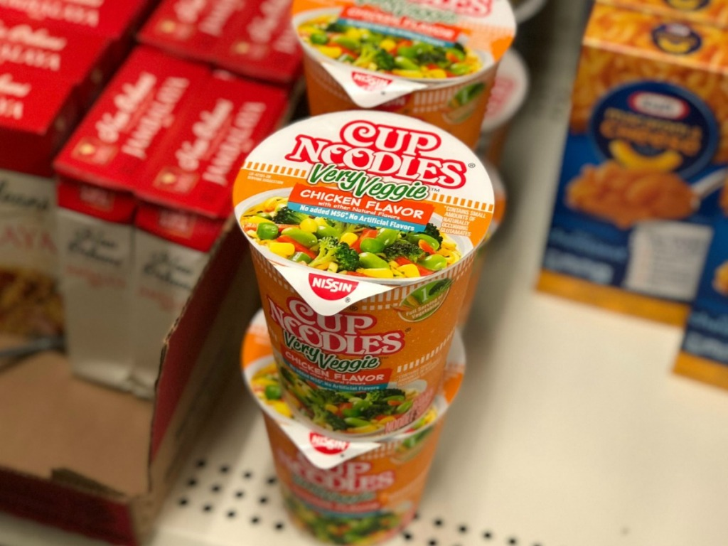In-store display of Cup Noodles in chicken flavor