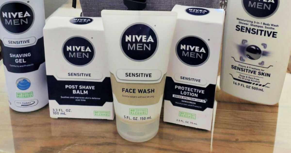 Nivea Men Sensitive Face Wash with other nivea products behind it