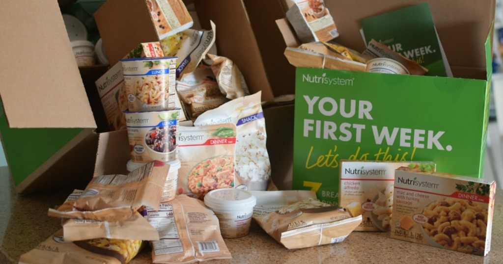 Nutrisystem Box on counter with contents displayed
