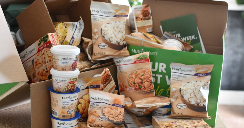 Nutrisystem box opened with contents spilling out