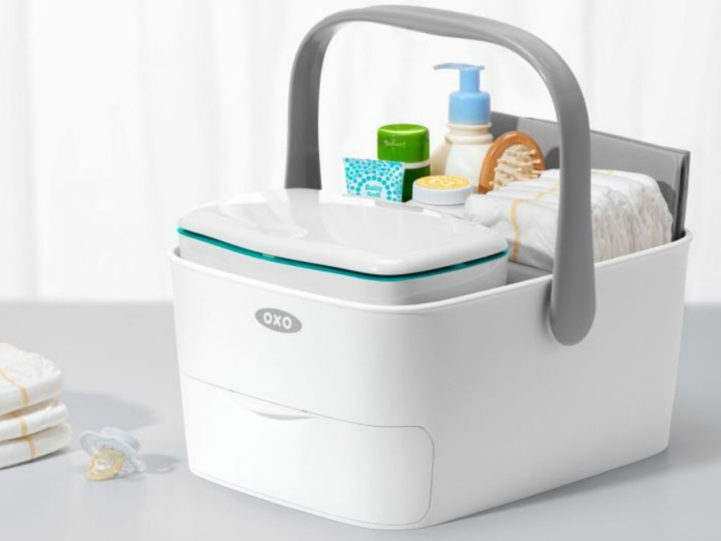OXO Diaper Caddy with baby bath products
