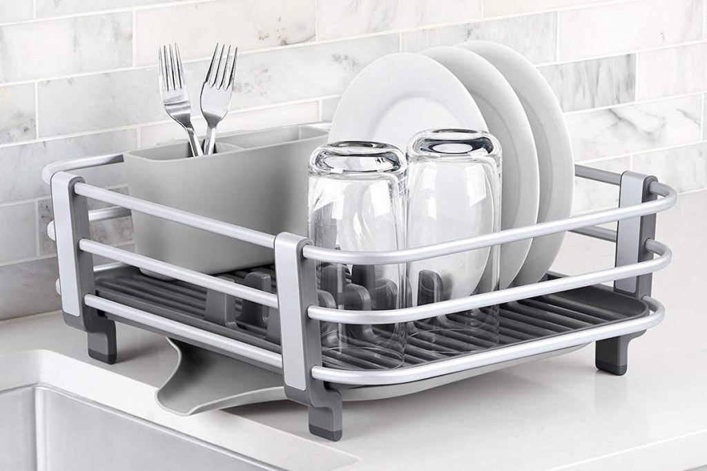 OXO Good Grips Rustproof Aluminum Dish Rack with dishes in rack in kitchen