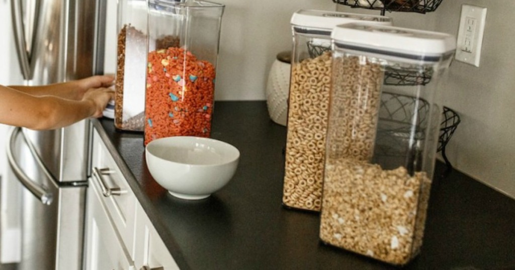 OXO cereal containers on counter filled