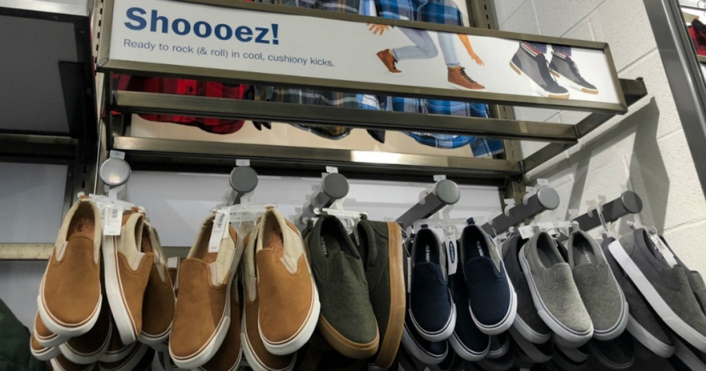 shelf with Old Navy Boys Slip on Sneakers in store