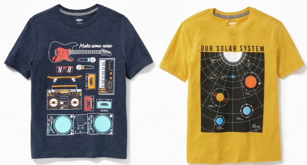 two styles of boys graphic tees from Old Navy