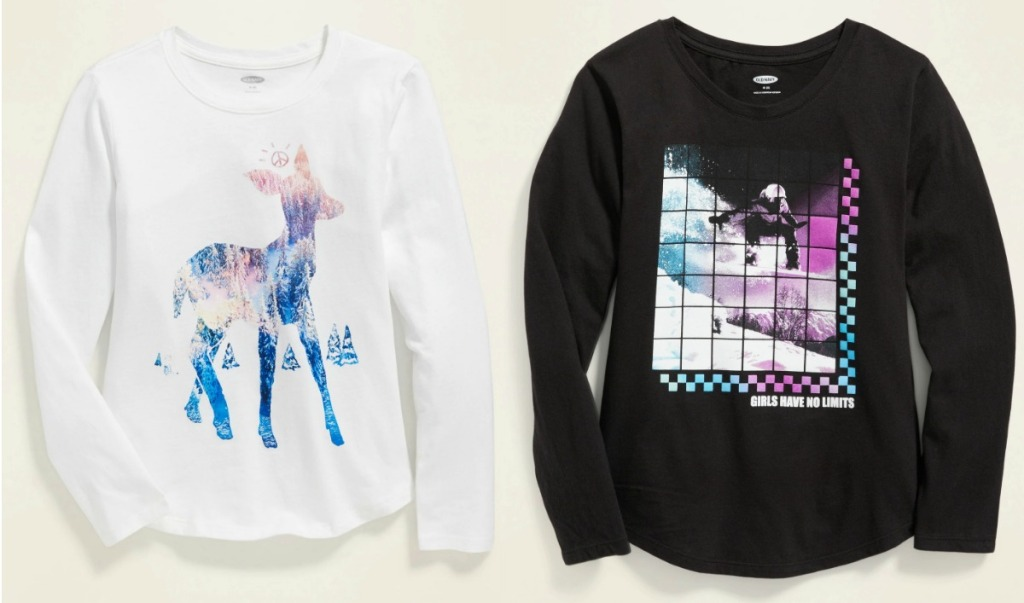 Two styles of girls long sleeve tees