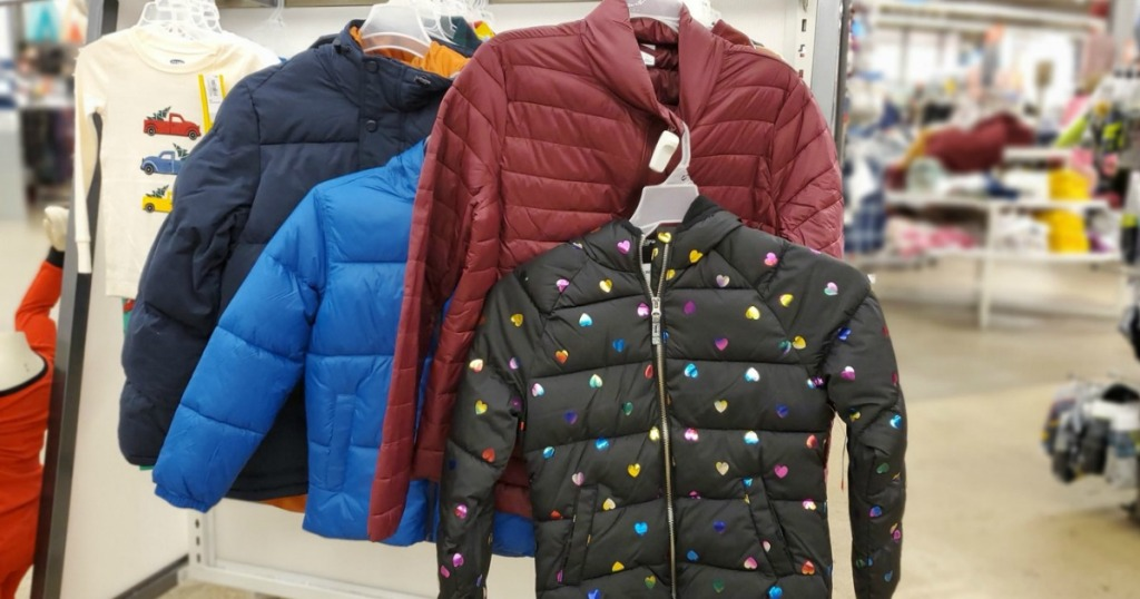 Old Navy brand kids jackets on rack in-store