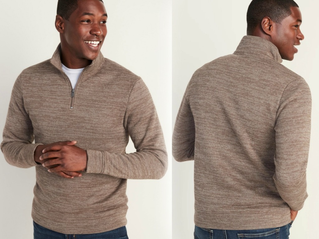 Man wearing brown pullover - front and back view