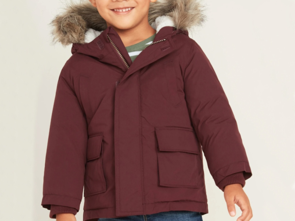 Little Boy wearing old navy parka