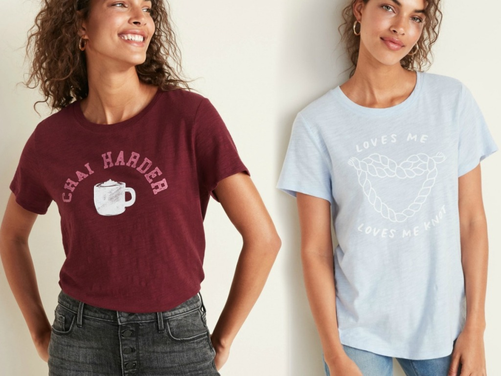 two women wearing graphic tees in two styles