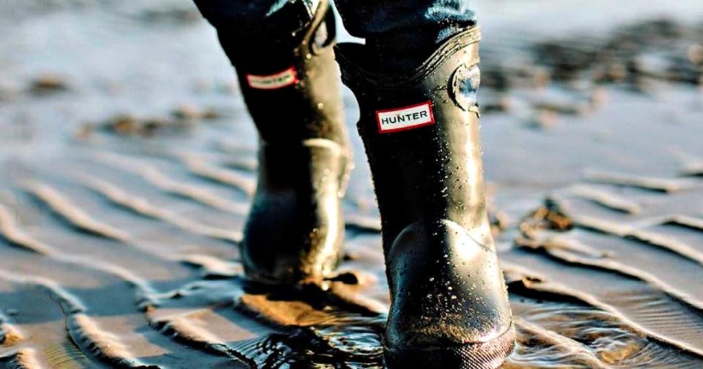 Original Kids First Classic Grab Handle Gloss Rain Boots on the beach