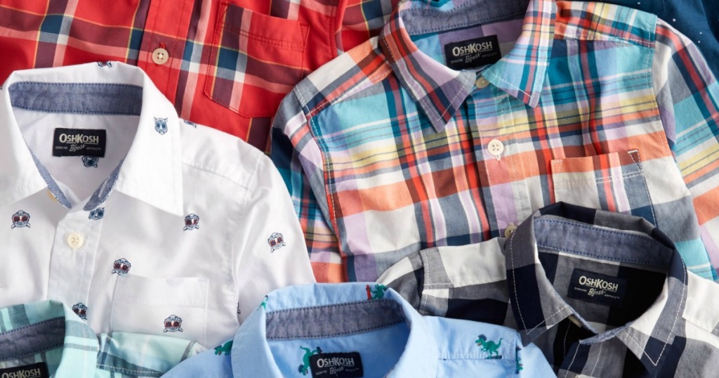 Boys button-up shirts laid out in a variety of styles