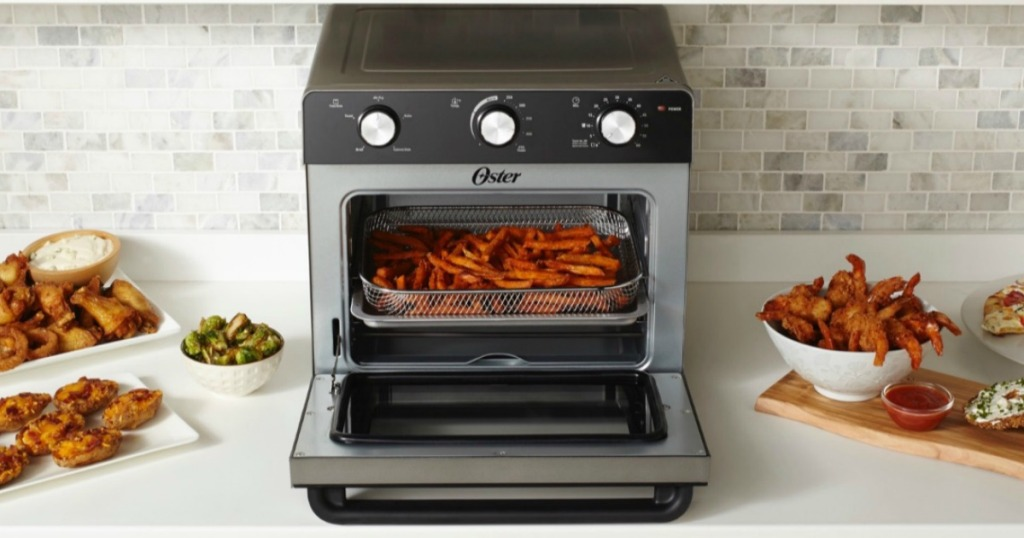 toaster oven with the door open and fries inside