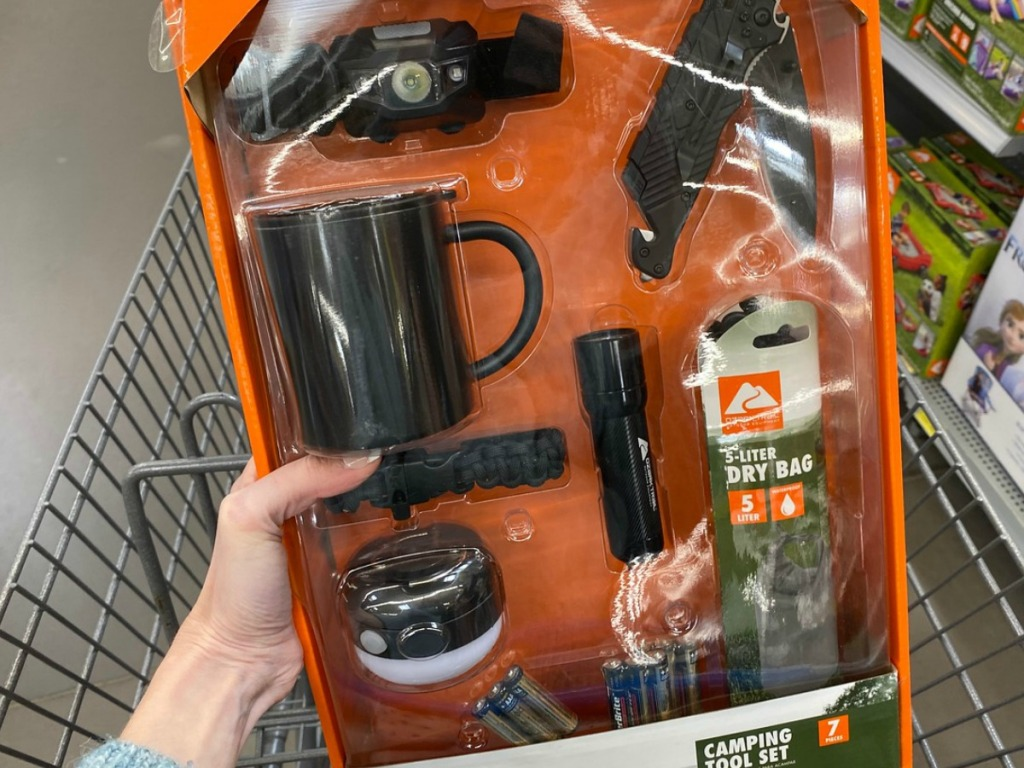 hand holding camping kit with supplies in front of grocery cart