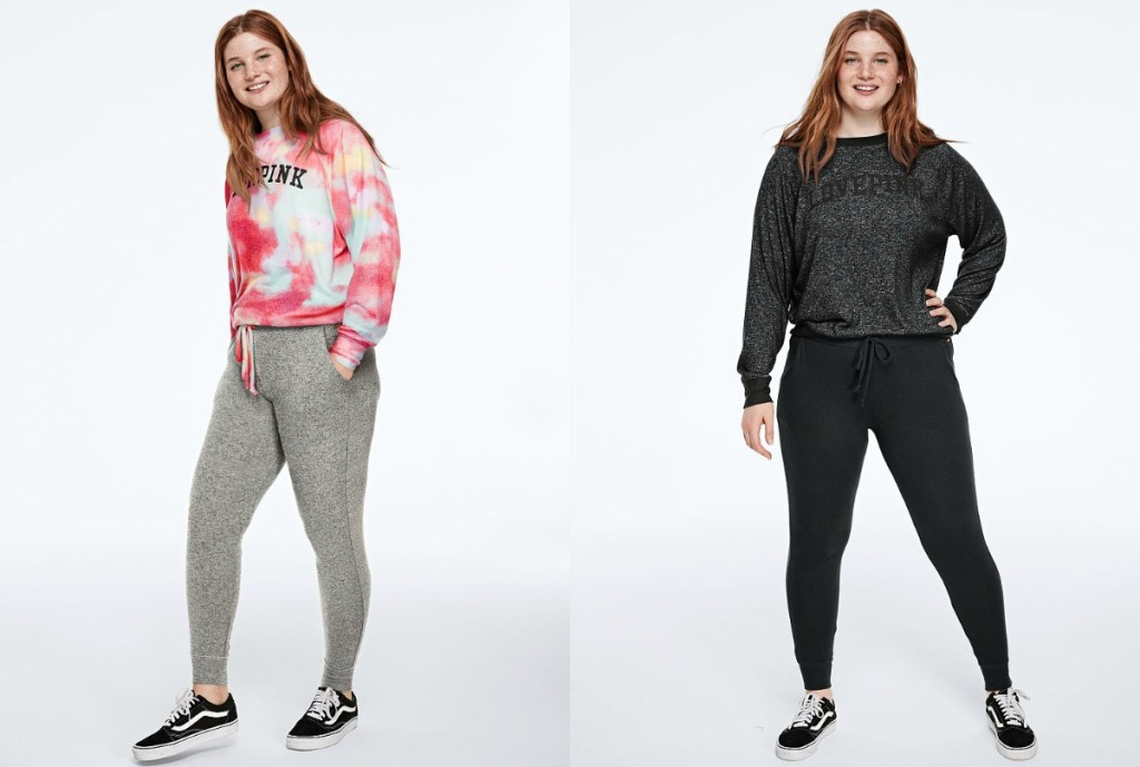 Teen modeling PINK Classic Joggers