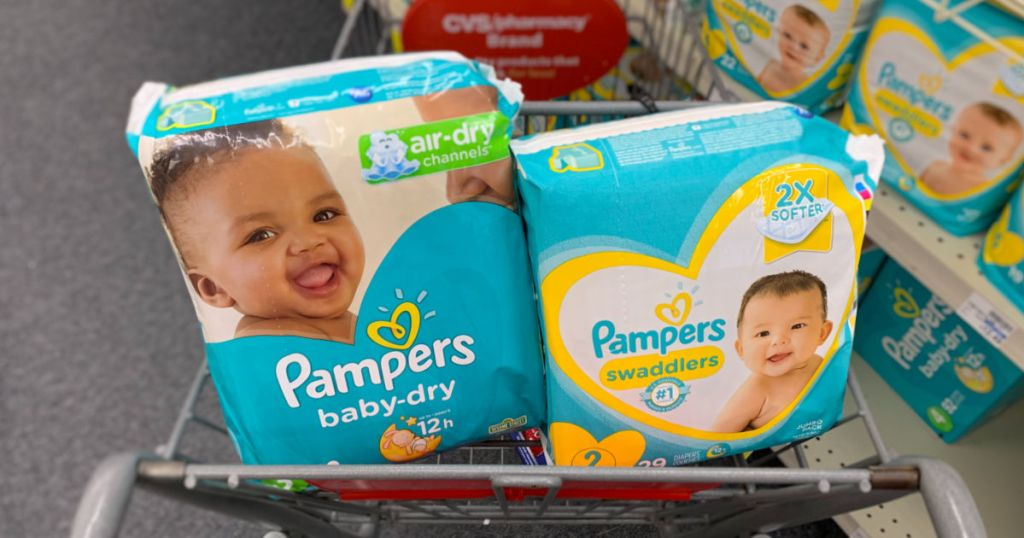 Pampers diapers in basket