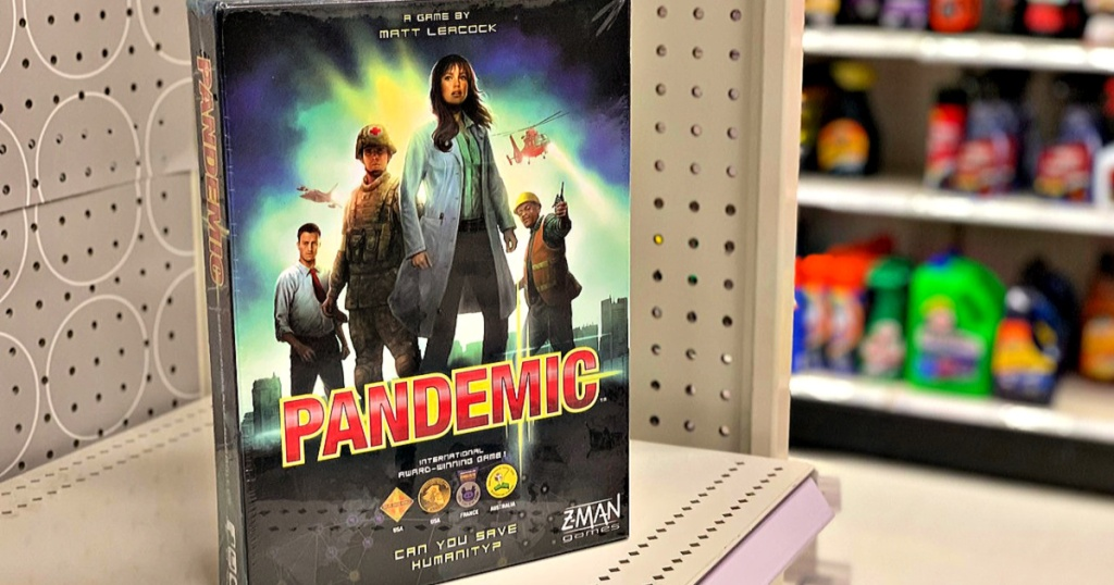 Pandemic board game on shelf at store