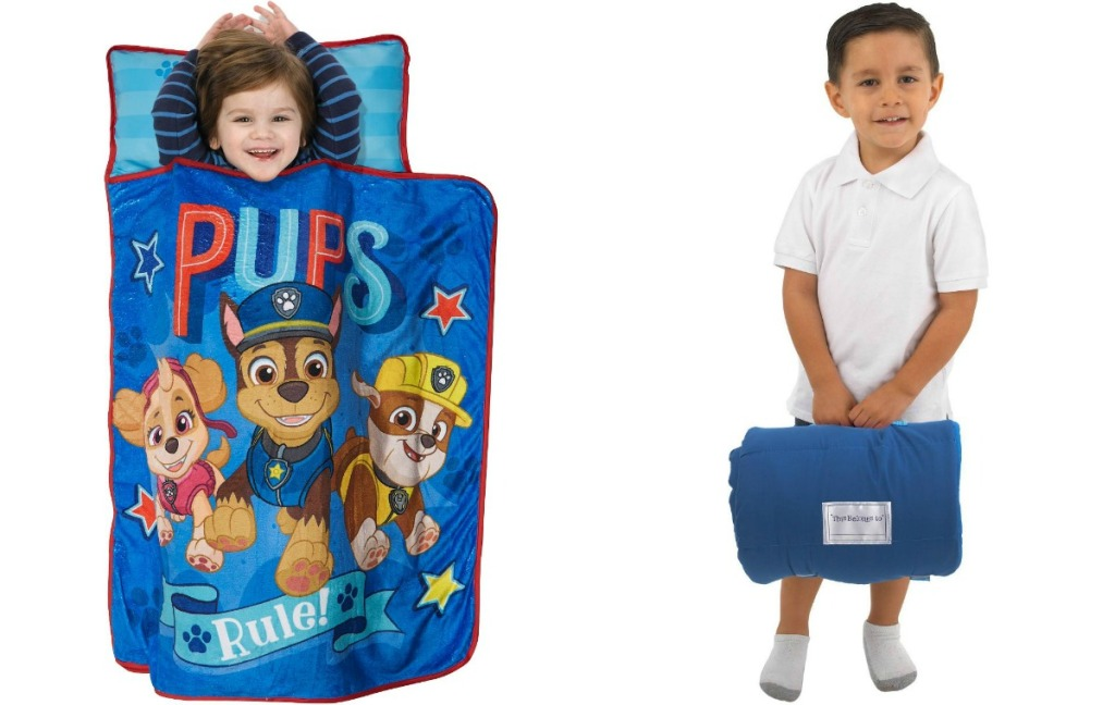 Paw Patrol Nap Mat and boy holding rolled up nap mat
