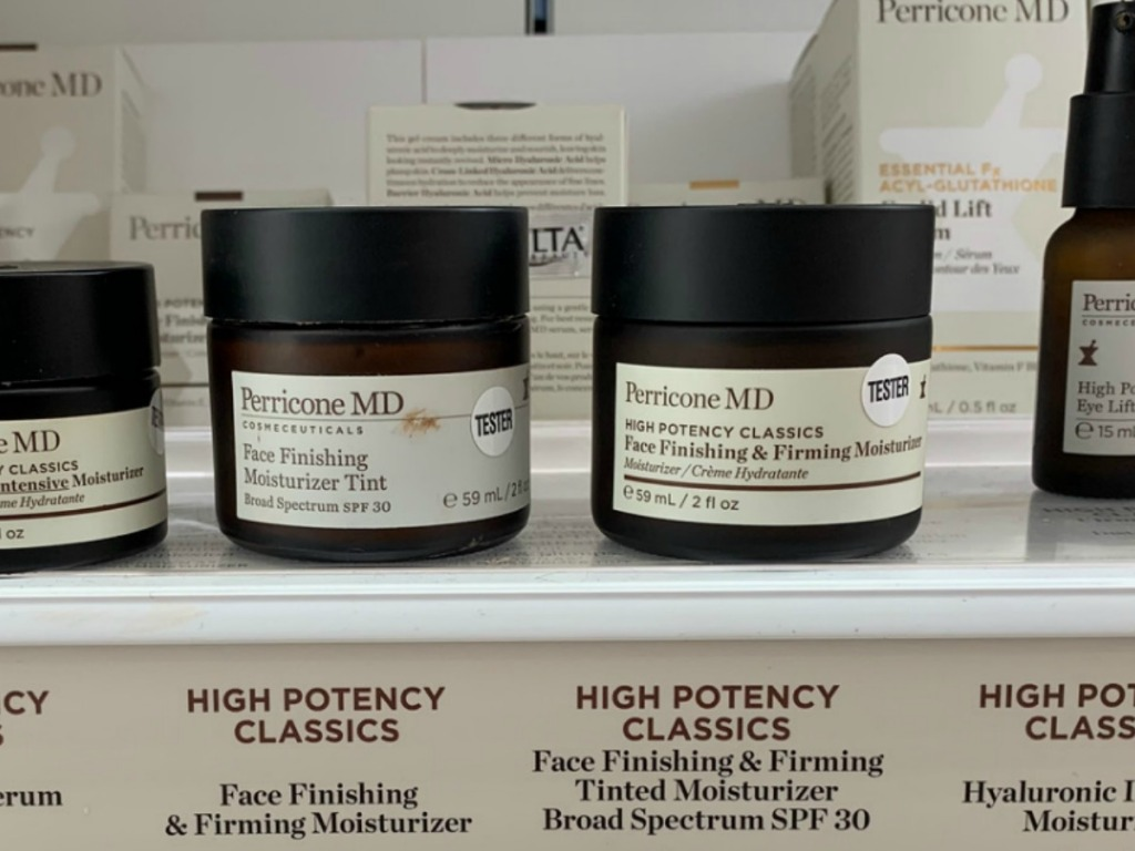 In-store display of Perricone MD brand facial moisturizer