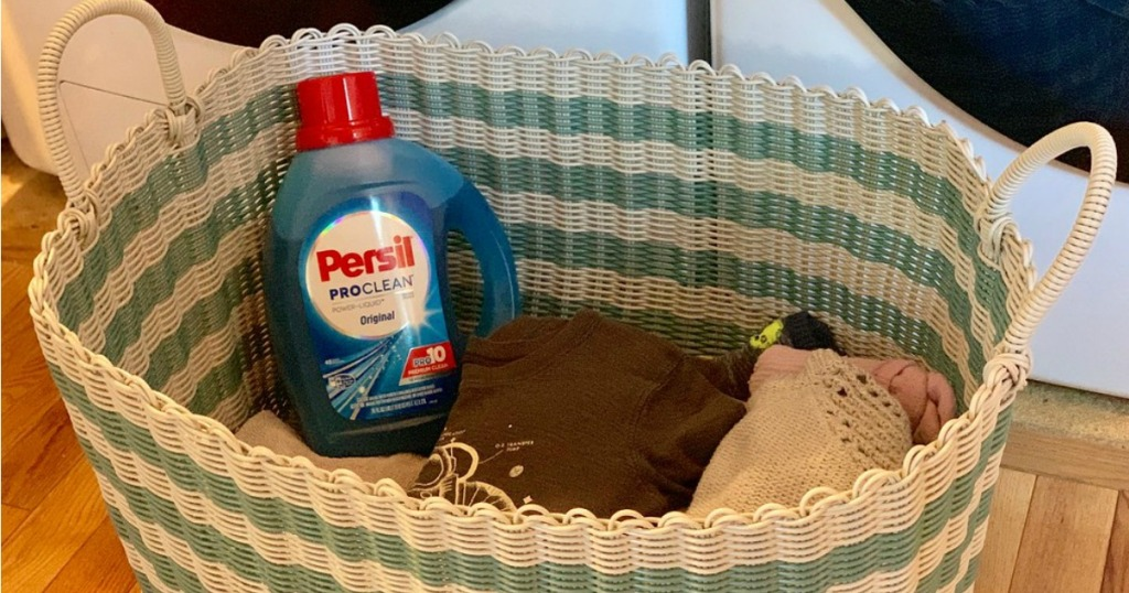 laundry detergent in a basket with clean clothes