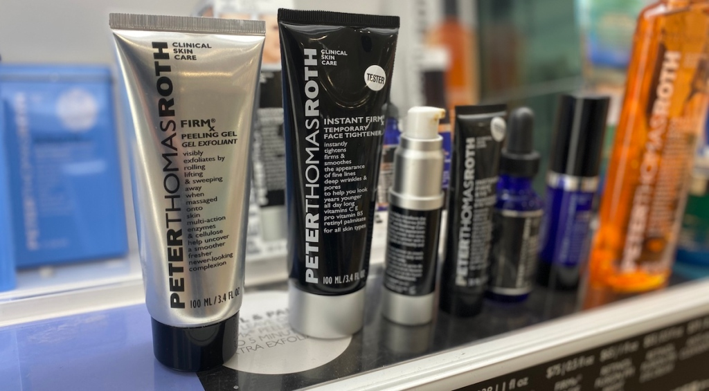 Peter Thomas Roth FirmX Peeling Gel on shelf by other Peter Thomas Roth products