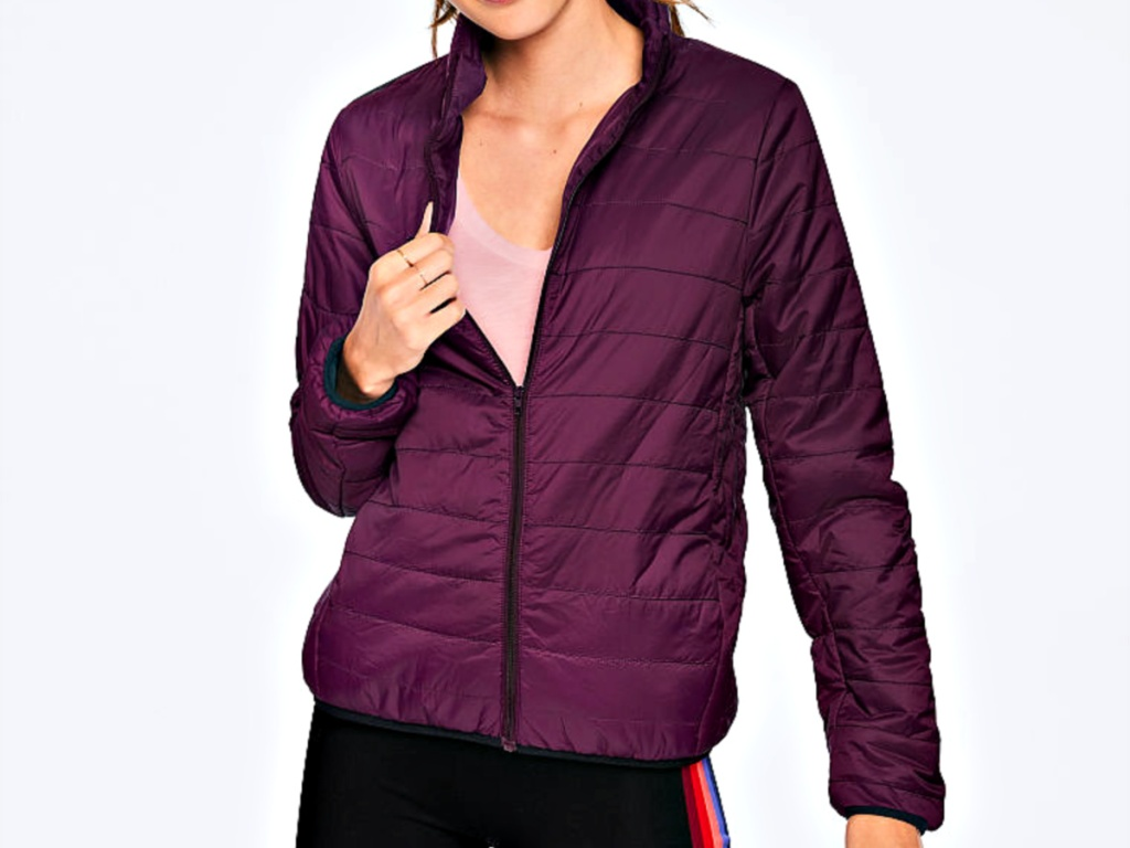 Pink Packable Puffer on model