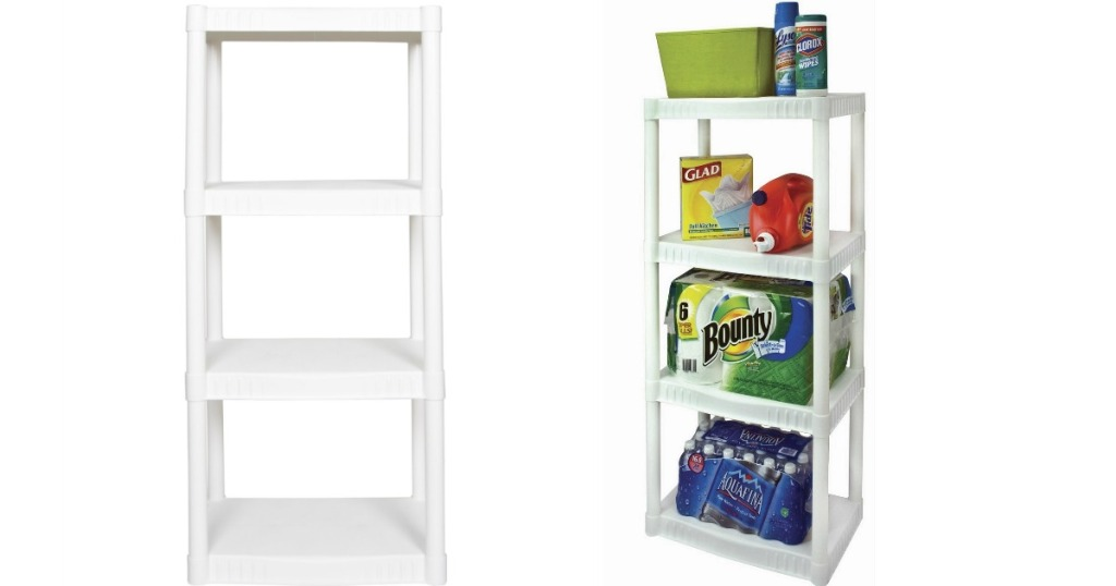 Plano Shelving Units side by side, one is empty one has household essentials on it