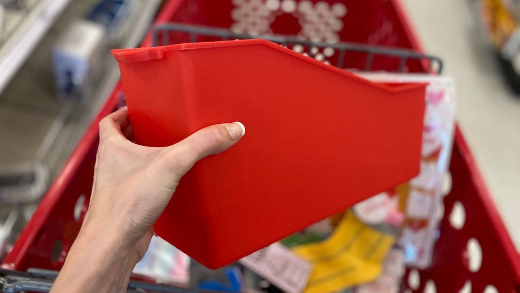 hand holding a Plastic Connectable File Folder by Target cart