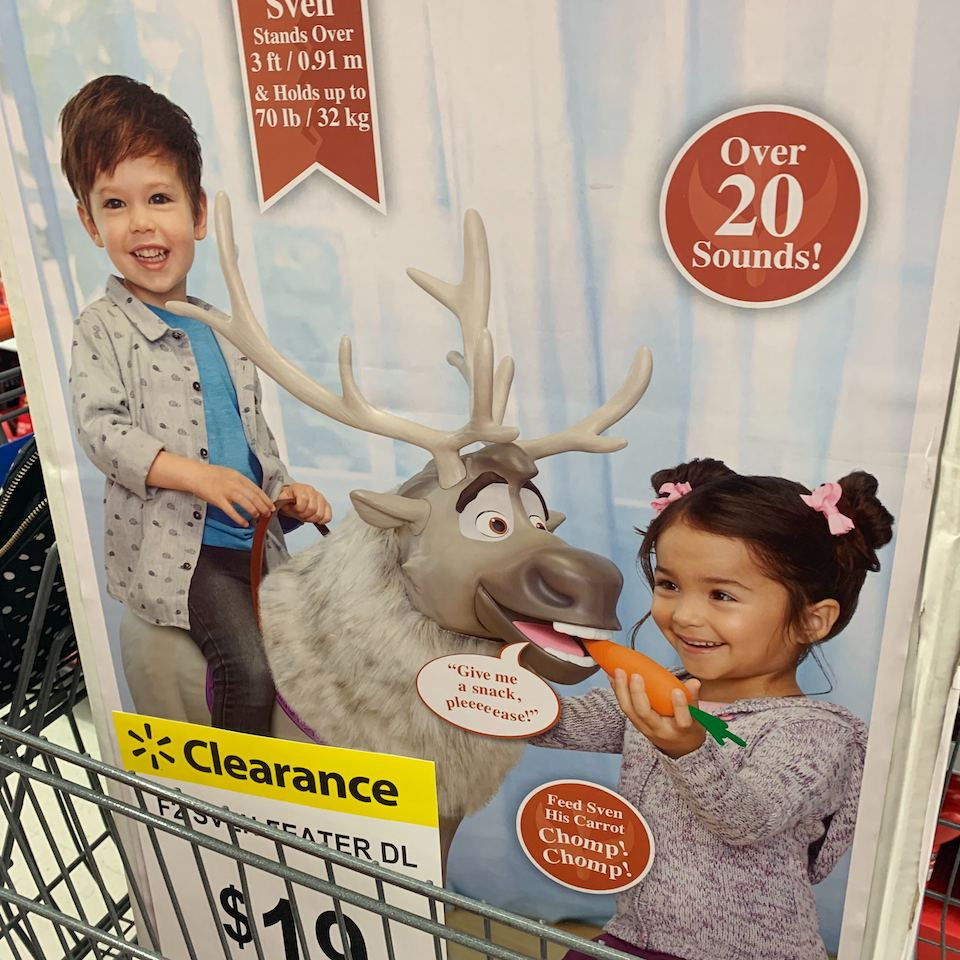Playdate Sven in Walmart cart