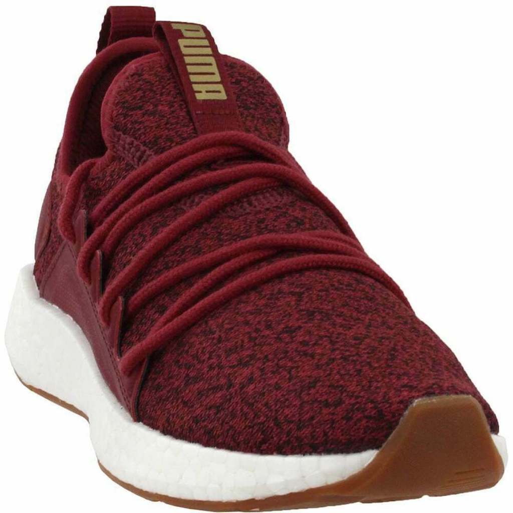 Burgundy pair of Puma Nrgy Neko Knit Casual Running Neutral Shoes