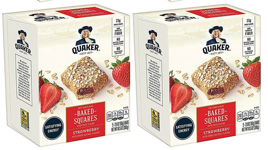 two boxes of Quaker bake squares in strawberry flavor