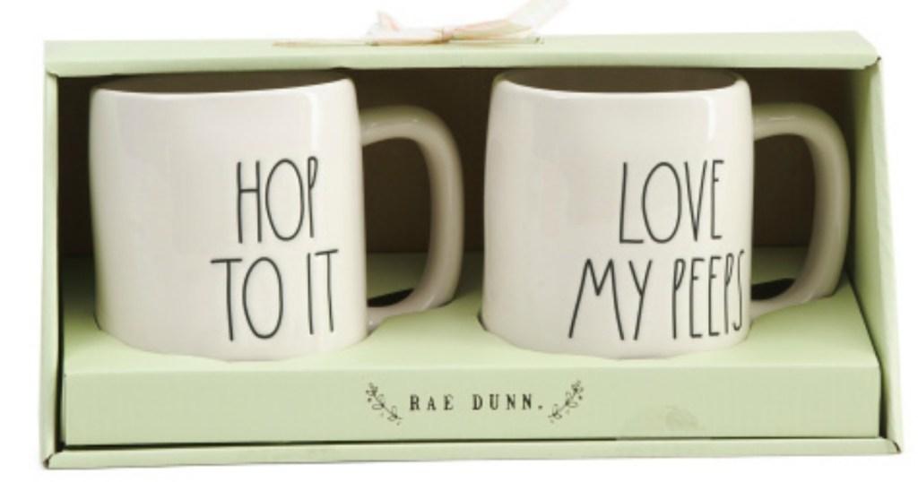 Rae Dunn Hop to It & Love My Peeps Mugs 2-pack