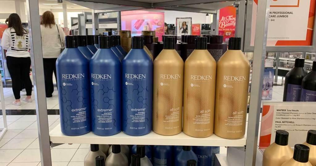 bottles of shampoo on store shelf