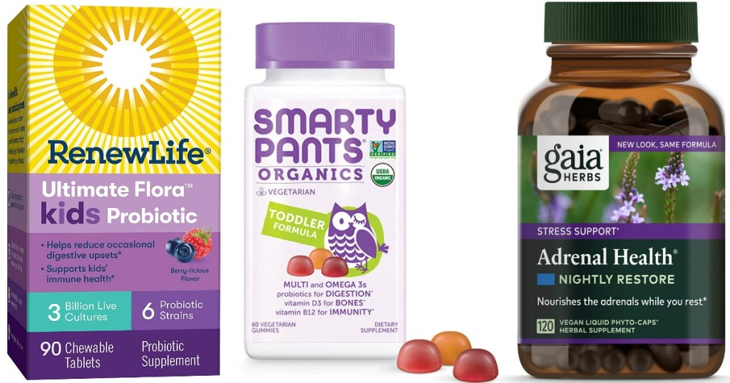 Renew Life Probiotics for kids, Smarty Pants kids gummy vitamins and gaia Adrenal Health Nightly Restore