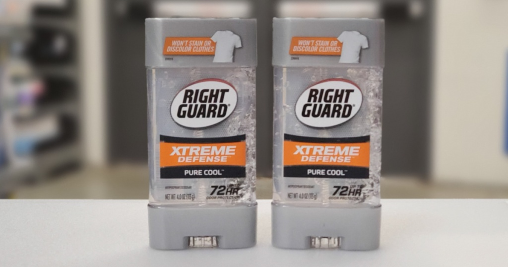 two bottles of Right Guard xtreme defense