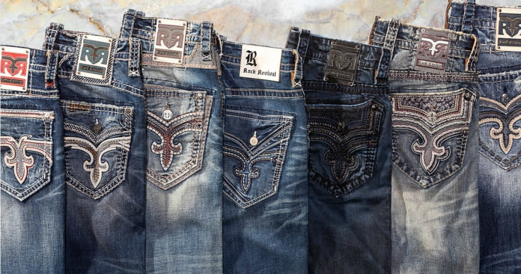 Rock revival Jeans stacked next to each other