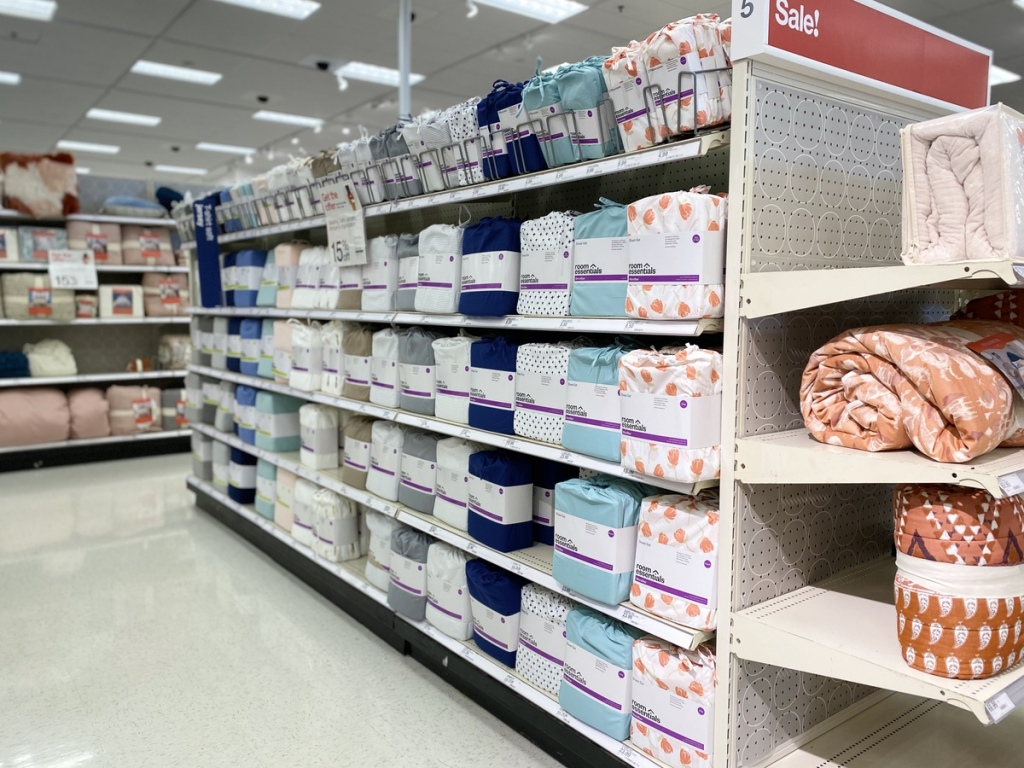 aisle of Room Essentials Sheets at Target