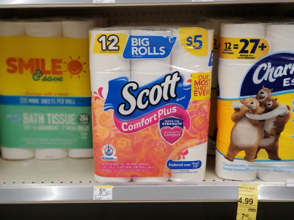 Scott Comfort Plus Toilet Paper on shelf at Walgreens