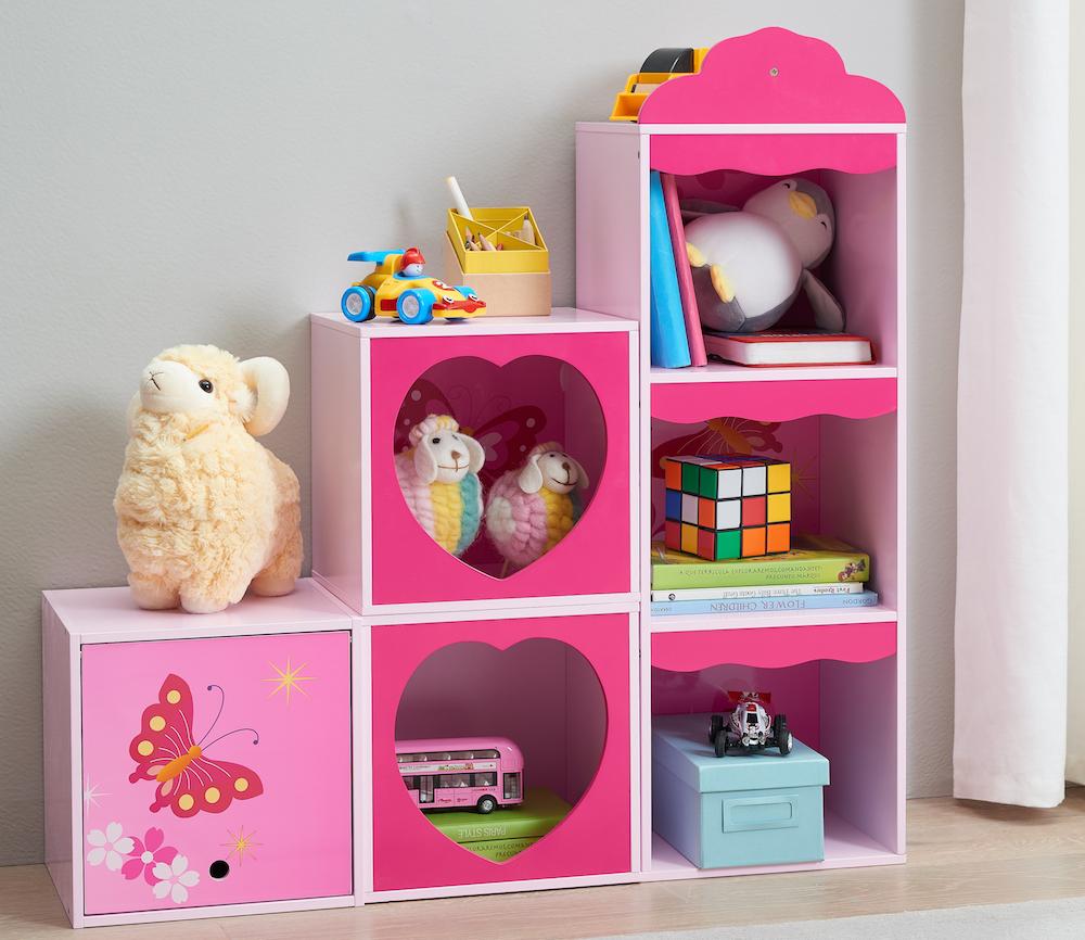 Senda Butterfly Bookshelf with toys on it