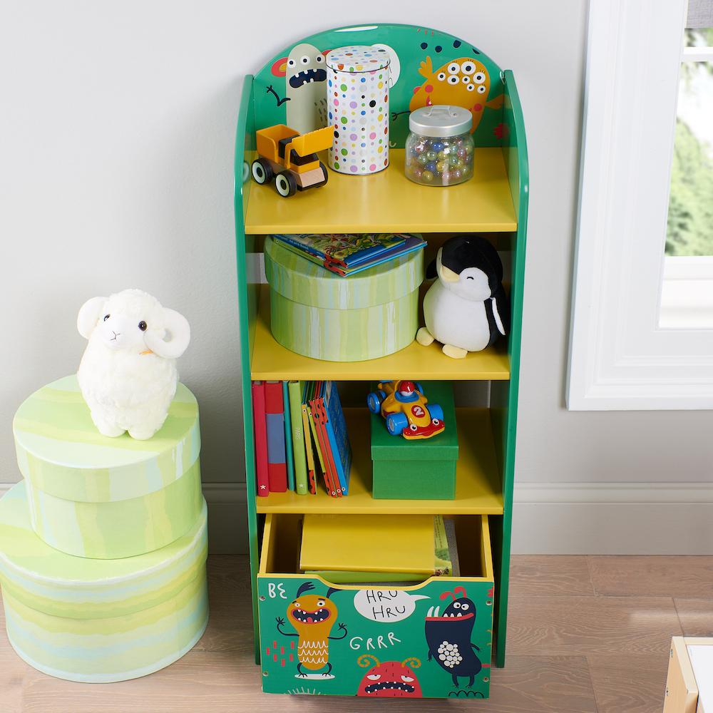 monster bookshelf next to storage bins and plush lamb