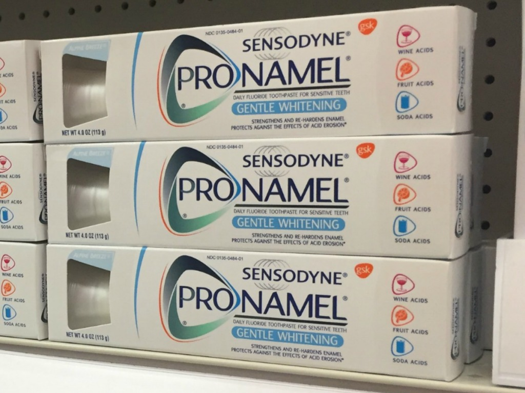 Sensodyne brand toothpaste in stack on display in-store