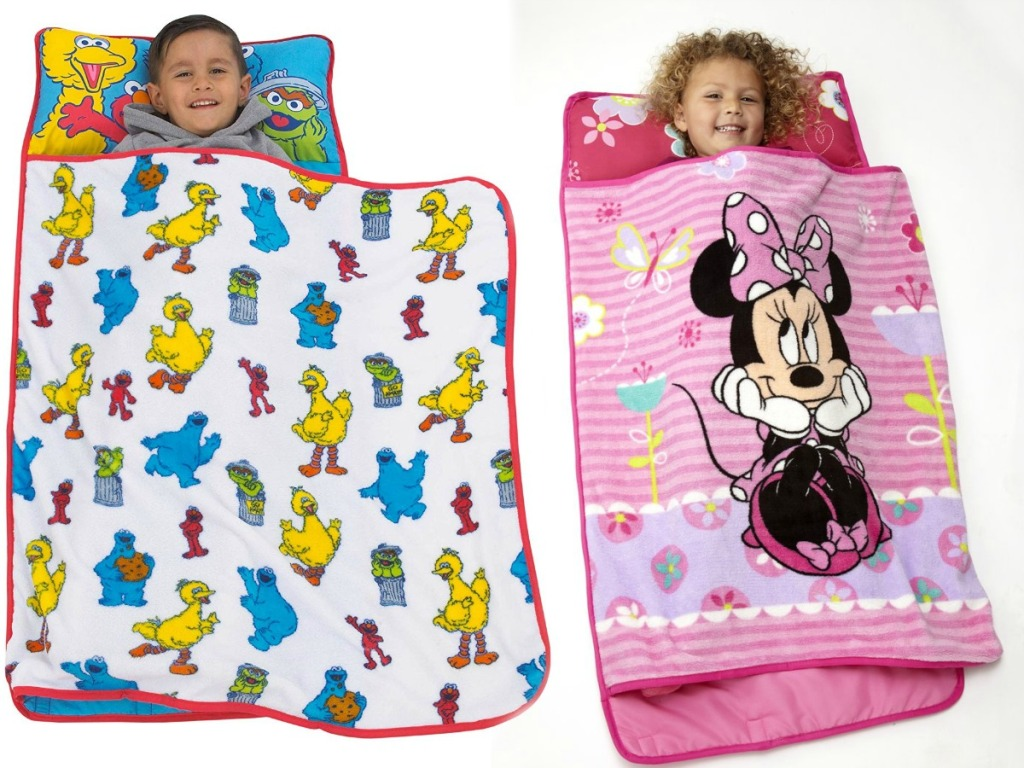 kids resting in Sesame Street and Minnie Mouse Nap Mats