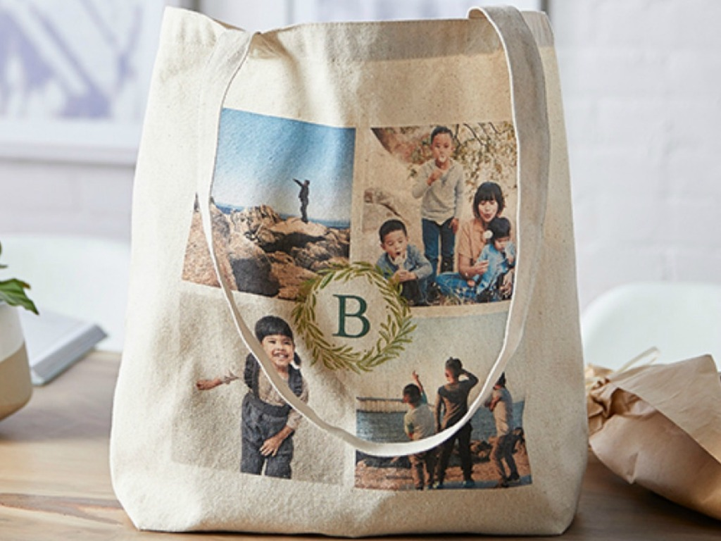 Shutterfly canvas bag with personalized photos